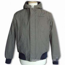 Men's Padded Jacket with Fixed Hood, One Pair of Arc Pockets in Front, Rib At Cuff and Bottom